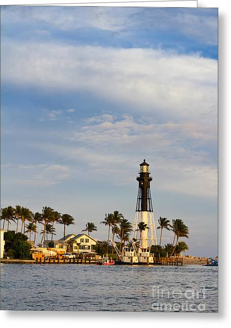 Hillsboro Inlet Lighthouse Greeting Card by Les Palenik