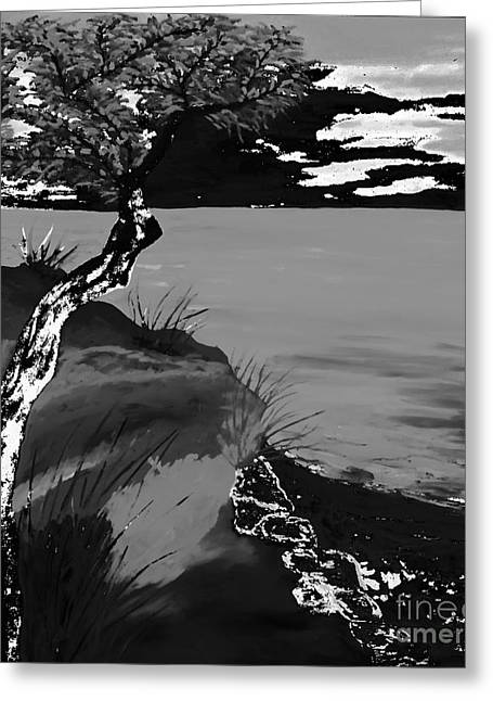 Horizon In Black And White Greeting Card