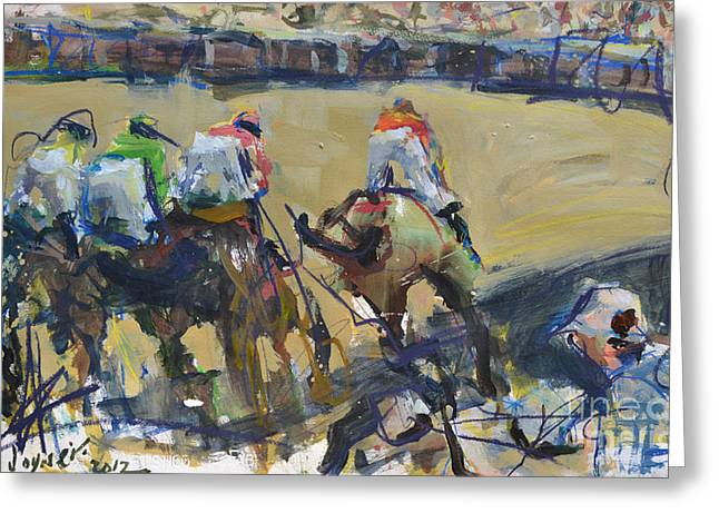 Horse Racing Painting Greeting Card