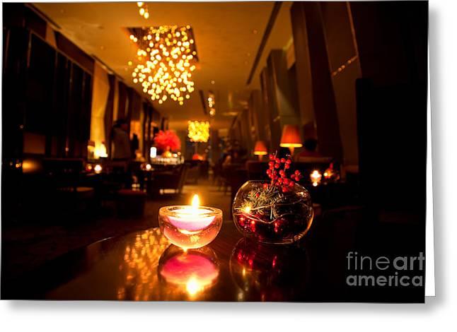 Hotel Lounge Greeting Card by Fototrav Print