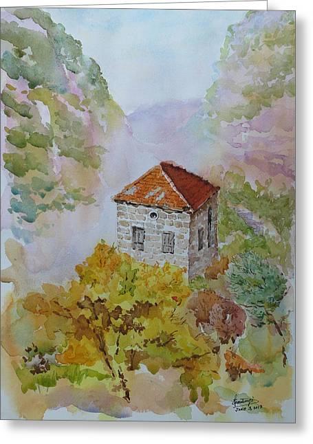 House Between Mountains Greeting Card by Ghazi Toutounji