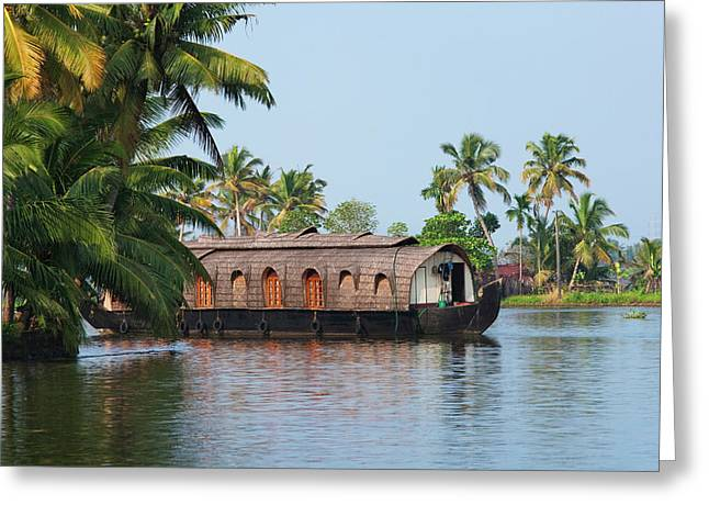 Houseboat On The Backwaters Of Kerala Greeting Card by Keren Su