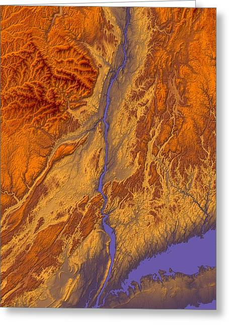 Hudson River Valley Map Art Greeting Card