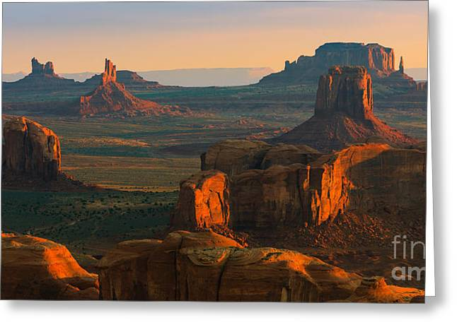 Hunts Mesa In Monument Valley Greeting Card by Henk Meijer Photography