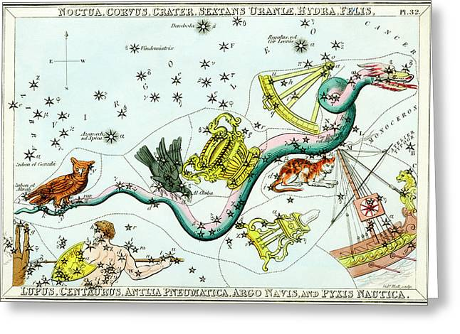 Hydra Constellation Greeting Card by Royal Astronomical Society/science Photo Library