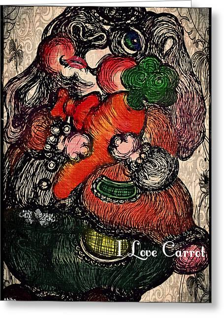 I Love Carrot Greeting Card by Akiko Okabe