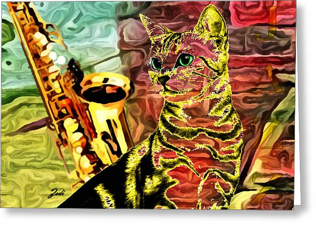 Jazz Greeting Card by Ze  Di