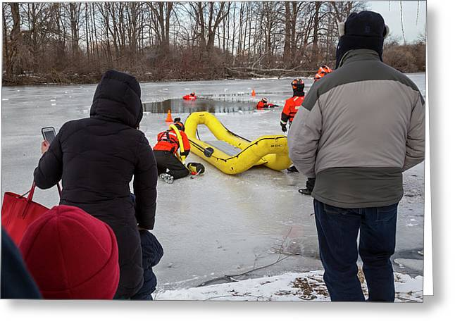 Ice Rescue Demonstration Greeting Card by Jim West/science Photo Library
