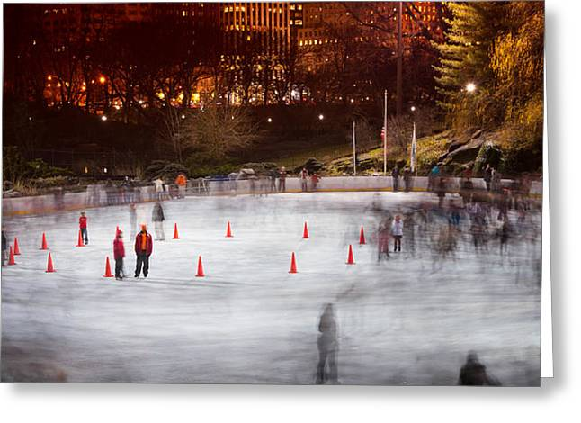 Ice Skating At Wollman Rink Greeting Card by Celso Diniz