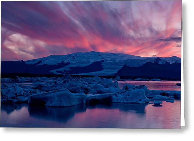Icebergs In A Glacial Lake, Jokulsarlon Greeting Card by Panoramic Images