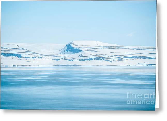 Iceland Winter Landscape Of Beautiful Mountains Covered In Snow  Greeting Card
