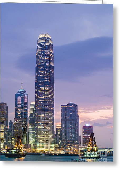 Ifc Tower In Hong Kong Skyline Greeting Card by Tuimages