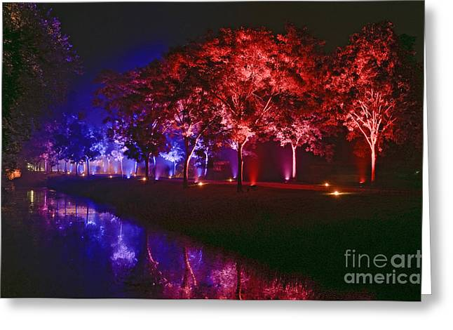 Illumina Light Show At Schloss Dyck Germany Greeting Card by David Davies