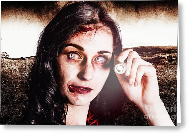 Infected Woman Searching Field During Zombie Apocalypse Greeting Card by Jorgo Photography - Wall Art Gallery