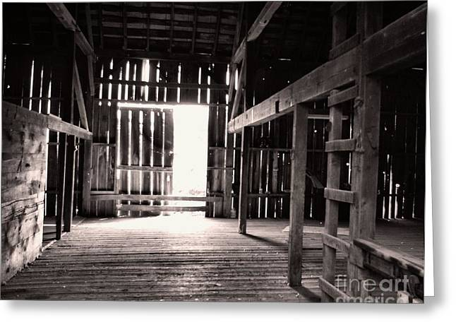Greeting Card featuring the photograph Inside An Old Barn by John S