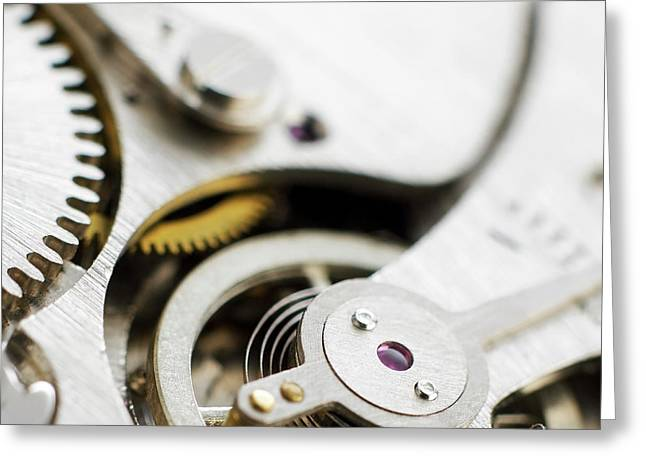 Inside Of Pocket Watch Greeting Card by Science Photo Library