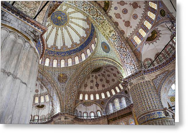 Interior Of Blue Mosque In Istanbul Turkey Greeting Card