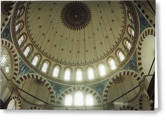 Interiors Of A Mosque, Rustem Pasha Greeting Card by Panoramic Images