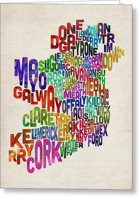 Ireland Eire County Text Map Greeting Card by Michael Tompsett