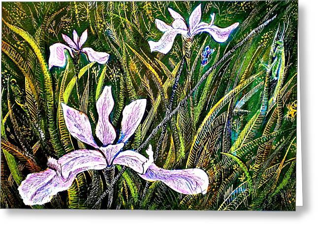 Irises And Grasshopper Greeting Card by Ion vincent DAnu