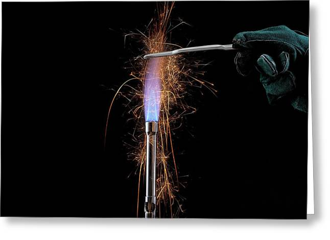Iron Filings In A Gas Flame Greeting Card by Science Photo Library
