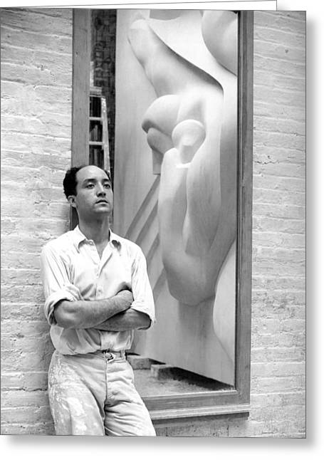 Isamu Noguchi With Sculpture Greeting Card