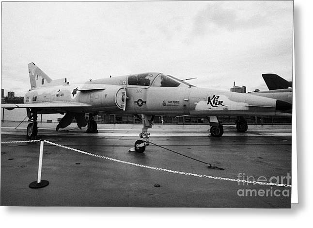 Israel Aircraft Industries Kfir On Disply On The Flight Deck At The Intrepid Sea Air Space Museum Greeting Card by Joe Fox