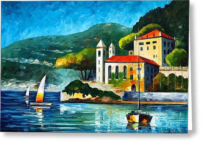 Italy Lake Como Villa Balbianello Greeting Card by Leonid Afremov