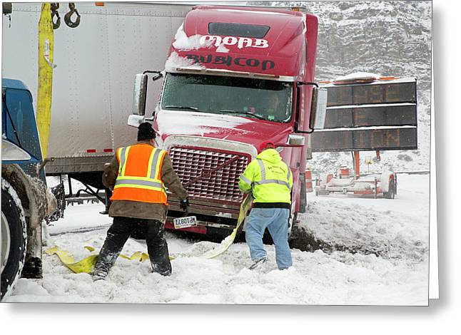 Jackknifed Truck Blocking Highway Greeting Card by Jim West