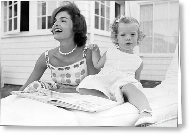 Jacqueline And Caroline Kennedy At Hyannis Port 1959 Greeting Card