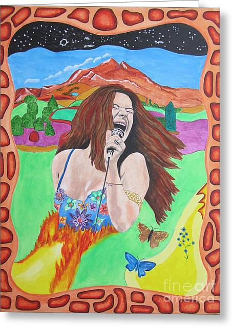 Janis Joplin  Greeting Card by Jeepee Aero