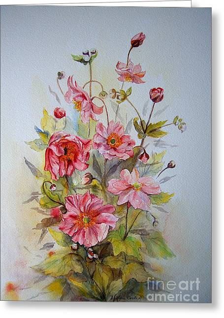 Greeting Card featuring the painting Japanese Anemones by Beatrice Cloake