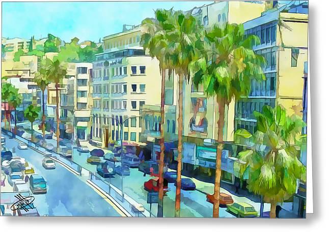 Jordan/amman/downtown Greeting Card by Fayez Alshrouf