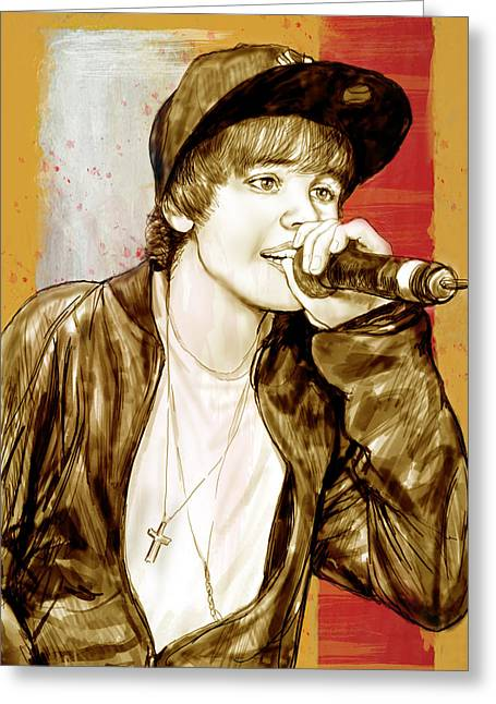 Justin Bieber - Stylised Drawing Art Poster Greeting Card by Kim Wang