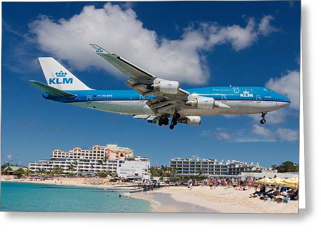 K L M Landing At St. Maarten Greeting Card by David Gleeson