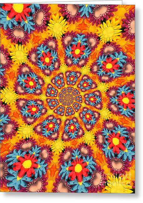 Kaleidoscope Daisies Greeting Card by Amy Cicconi