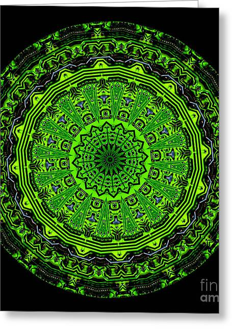 Kaleidoscope Of Glowing Circuit Board Greeting Card by Amy Cicconi