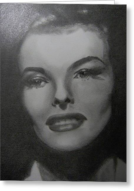 Greeting Card featuring the drawing Kathryn Hepburn by Lori Ippolito