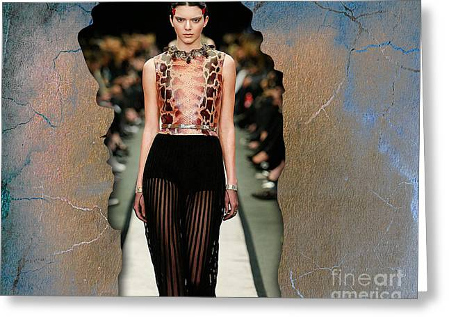 Kendall Jenner Greeting Card by Marvin Blaine