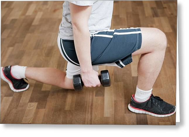 Knee Physiotherapy Greeting Card by Thomas Fredberg