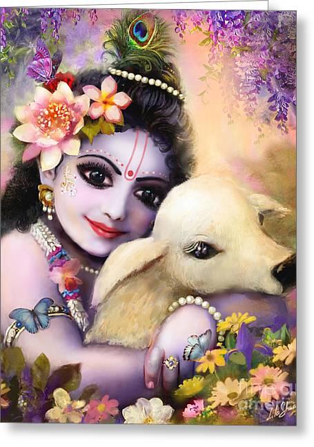 Krishna Gopal Greeting Card by Lila Shravani