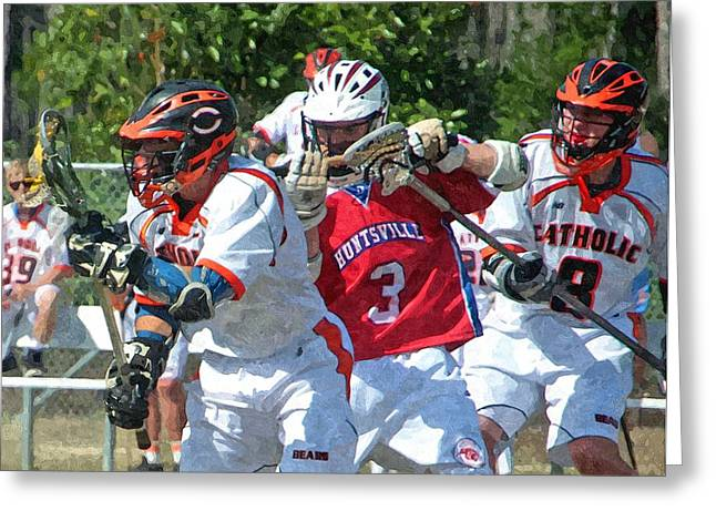 Lacrosse Greeting Card by Barry Spears