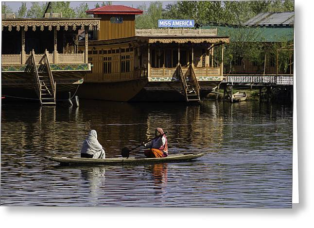 2 Ladies In A Small Boat In The Dal Lake In Srinagar - In Front  Greeting Card by Ashish Agarwal