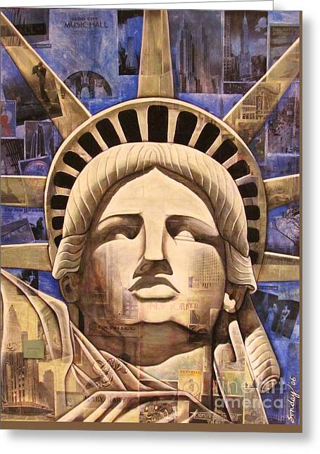 Lady Liberty Greeting Card by Joseph Sonday