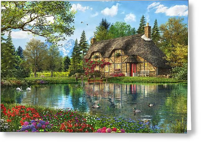Lake View Cottage Greeting Card