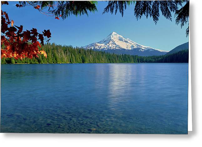 Lake With Mountain In The Background Greeting Card