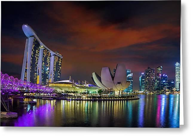Landscape Of Singapore City Greeting Card by Anek Suwannaphoom