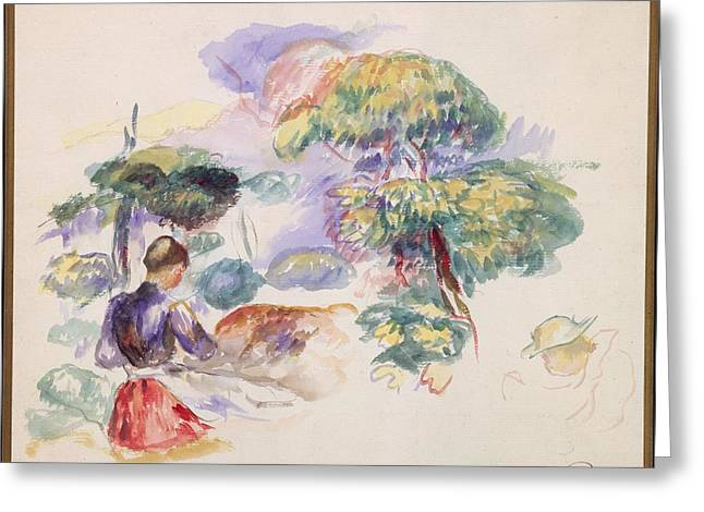 Landscape With A Girl Greeting Card by Auguste Renoir
