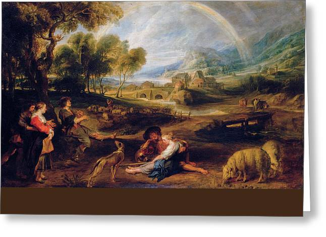 Landscape With A Rainbow Greeting Card by Peter Paul Rubens