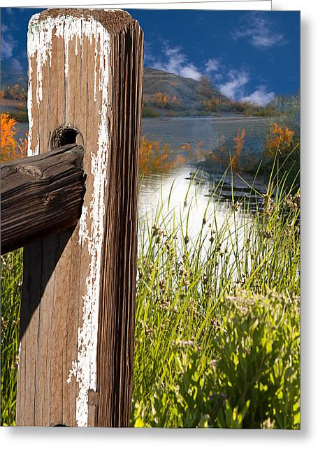 Landscape With Fence Pole Greeting Card by Gunter Nezhoda